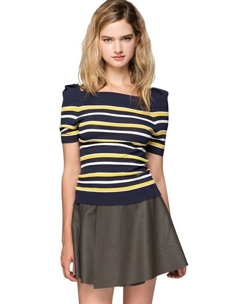 navy striped vintage sweater crop knit tops cheap top