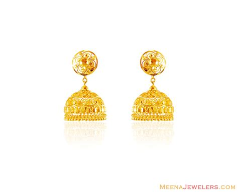 gold jhumka pattern 22k gold fancy jhumka erfc16051 22k gold jhumka