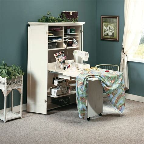 craft cabinet with fold down table wood sewing machine table cabinet craft armoire space