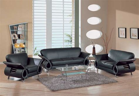 Contemporary Dual Colored Or Black Leather Sofa Set W Contemporary Living Room Chair