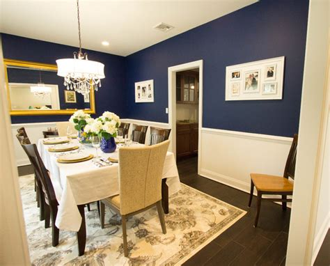 a touch of blue formal dining room transitional
