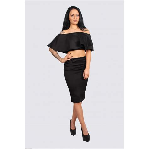 black frill crop top midi pencil skirt set