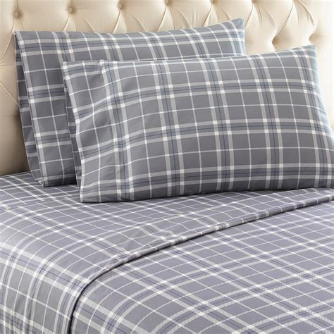 9 best flannel bed sheets reviews micro flannel carlton plaid 4 piece gray full polyester