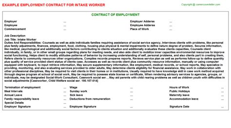 Intake Worker Cover Letter by Can Intake Worker Cover Letter Intake Employment Contracts The Best Resume And Cover Letter