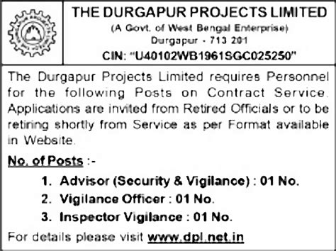 paper pattern of vigilance officer jobs in the durgapur projects ltd vacancies in the