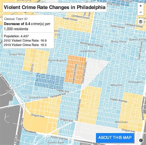 philly crime map crime went last year in most of south philly