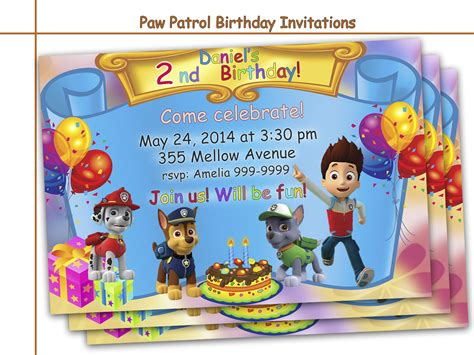 printable birthday card paw patrol amazing paw patrol birthday invitations by