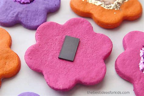 salt dough flower magnets   ideas  kids