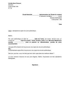 Modèle De Lettre Pour Un Notaire Lettre De Demande De Copie D Un Acte Authentique 224 Un Notaire Mod 232 Le De Lettre Gratuit