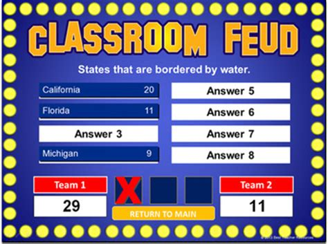 Family Feud Powerpoint Template Classroom Game Powerpoint Template Family Feud
