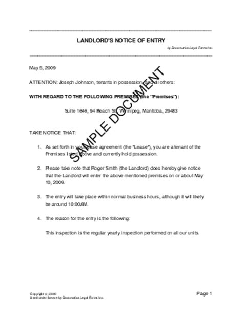 canadian will template notice of entry canada templates agreements