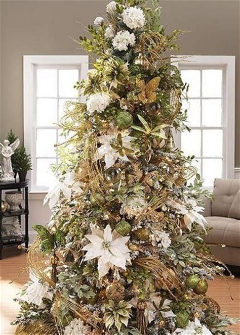 16 best christmas tree decorated with flowers images on