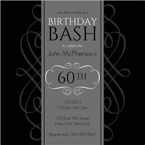 60th birthday invitation sles black and grey formal soiree 60th birthday invite 60th birthday invitations