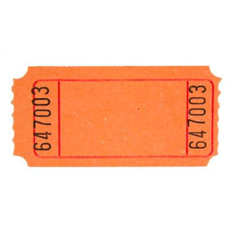 orange blank ticket roll tickets wristbands amols