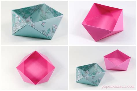 Paper Bowl Origami - traditional origami square bowl box