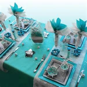 decoration de table noel turquoise gris blanc deco