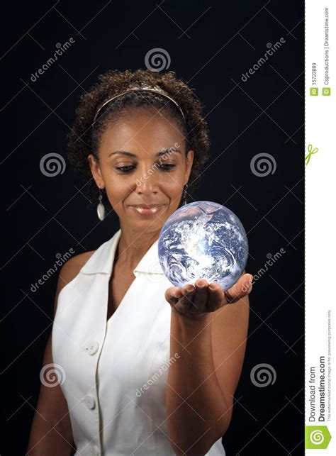 pretty older black lady beautiful mature black woman holding the earth stock image