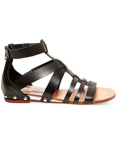 madden flat shoes steve madden drastik flat gladiator sandals in black lyst