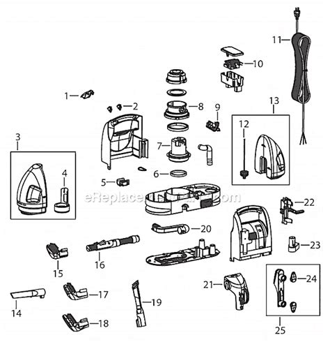 bissell proheat parts diagram bissell 1425 parts list and diagram ereplacementparts