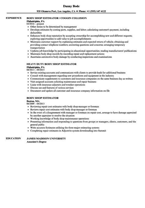 Collision Estimator Sle Resume by Shop Estimator Resume Sles Velvet