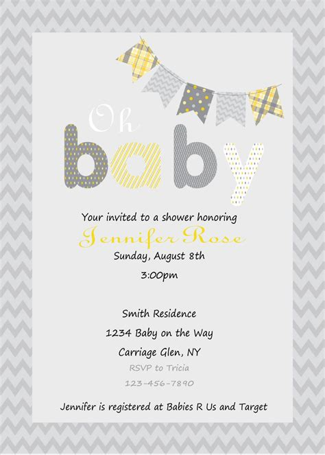 Yellow And Grey Baby Shower Invitations by Yellow And Gray Baby Shower Invitation Print Your Own