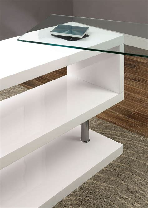 bronwen contemporary white finish metal wood desk