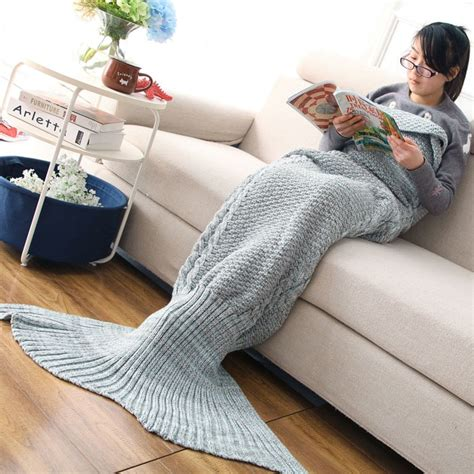 mermaid bedding for adults blue gray adult crocheted knited mermaid tail style