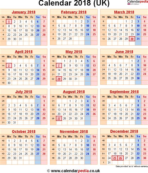 Calendar 2018 Including Holidays 2018 Calendar Uk With Week Numbers Calendar Printable Free