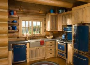 cabin kitchen ideas rustic kitchen love the blue retro appliances with the log wish list pinterest cabinets