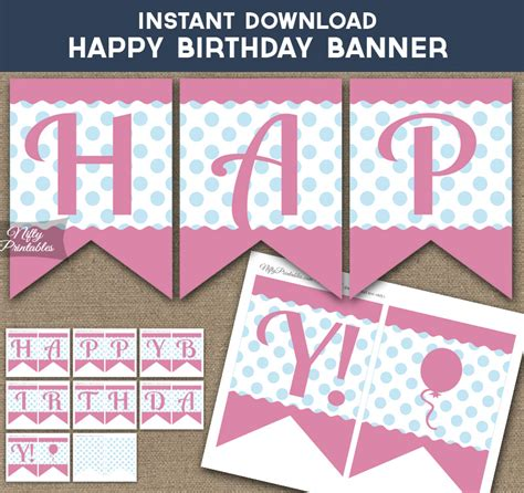 printable happy birthday banner blue printable happy birthday banner pink blue polka dots