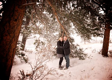 elk meadow park elk meadow park snowy engagement session in evergreen co