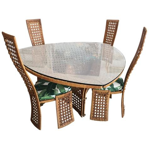 Dining Table With Rattan Chairs Danny Ho Fong Dining Table Set Four Side Chairs Rattan Wicker Tropical Bamboo For Sale At 1stdibs