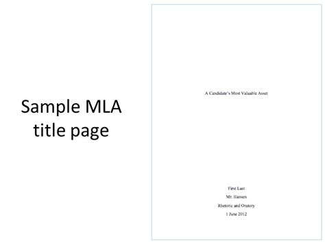mla cover page template sle cover page for mla