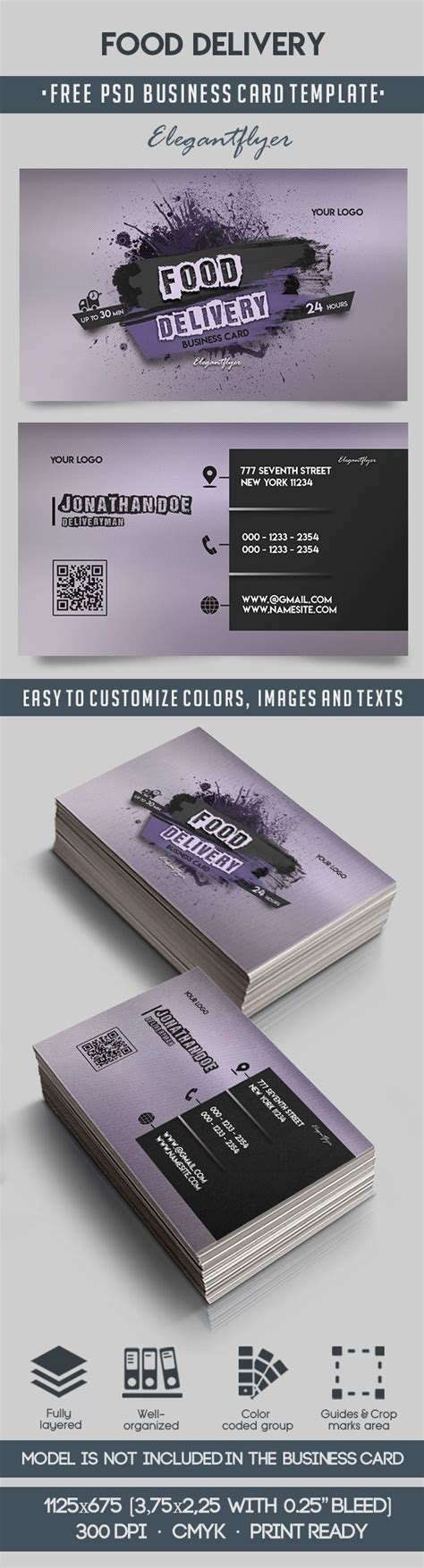 courier business card templates food delivery free business card templates psd by