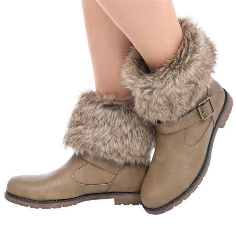 Faux Fur Boots womens faux fur lined collar buckle warm pull on