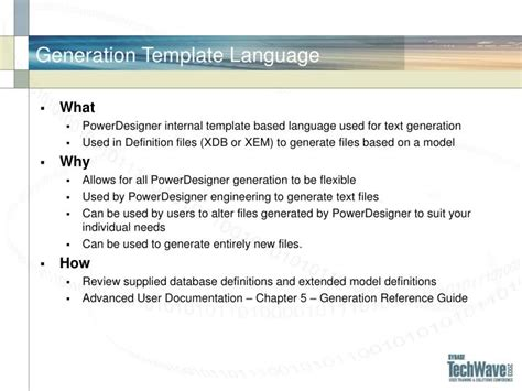 templating language ppt pdr605 powerdesigner tips tricks and