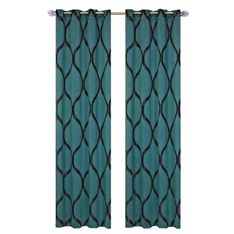 shop curtains by length lavish home jade green metallic grommet curtain panel
