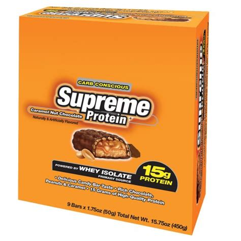 supreme protein protein bars supreme protein 15g caramel nut chocolate