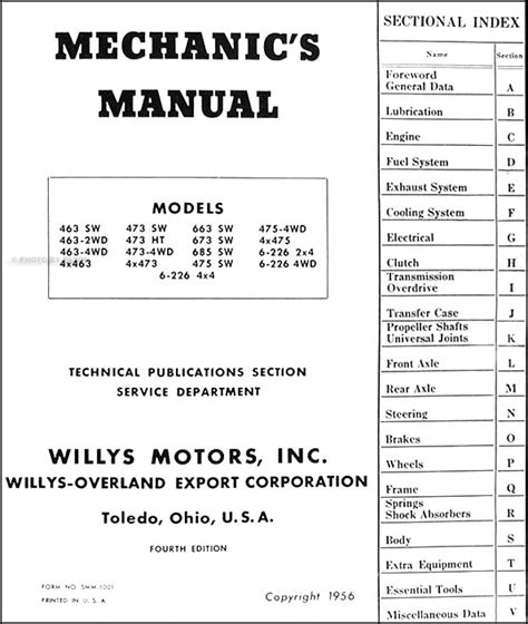 willys jeep pickup wagon repair shop manual