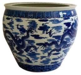 pre owned large asian blue white ceramic planter asian