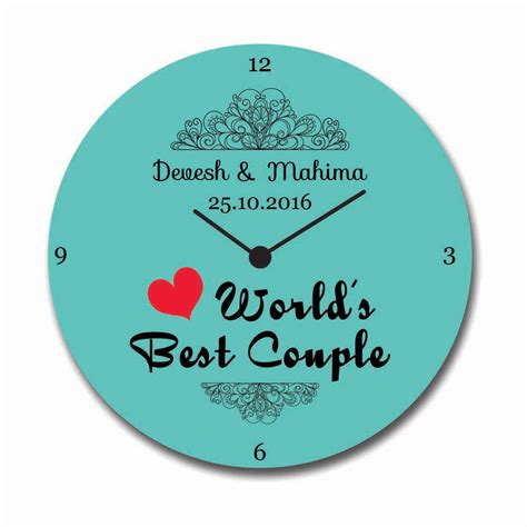 Custom Worlds Best Couple Anniversary Canvas Wall Clock, Giftsmate