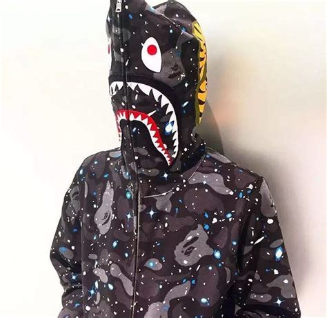 bape s a bathing ape space camo shark hoodie zip