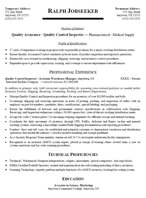 Sle Resume For A Quality Inspector Quality Resume In Canada Sales Quality Lewesmr