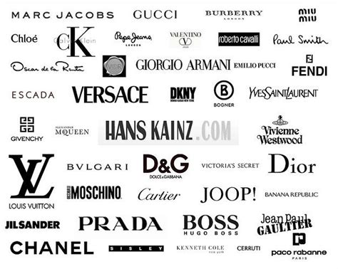 list of designers most popular high fashion clothing brands of designer