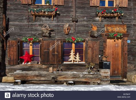 christmas decorations decorating swiss wooden chalet in
