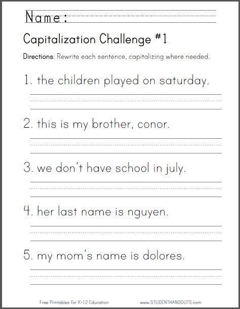 Capitalization Worksheets by Click Here To Print This Worksheet