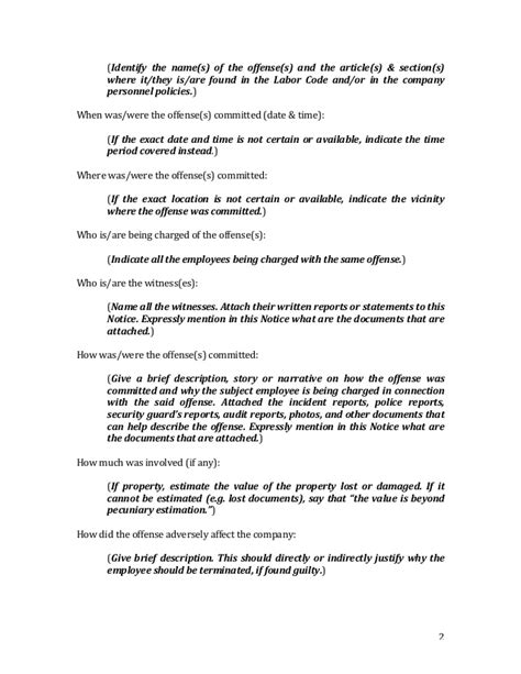 Explanation Letter To Staff Notice To Explain Sle Form Notice