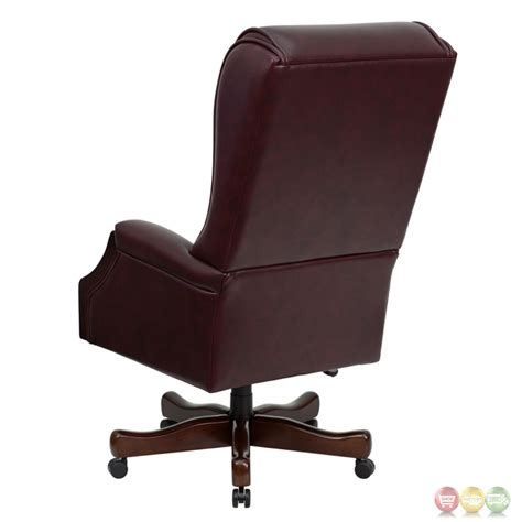 burgundy leather office chair high back traditional tufted burgundy leather executive