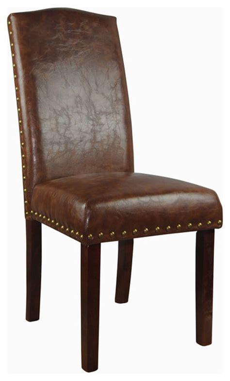 castillian collection espresso faux leather parson chairs