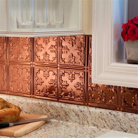 decorative backsplash panels fasade 24 in x 18 in traditional 10 pvc decorative backsplash panel in polished copper b57 25